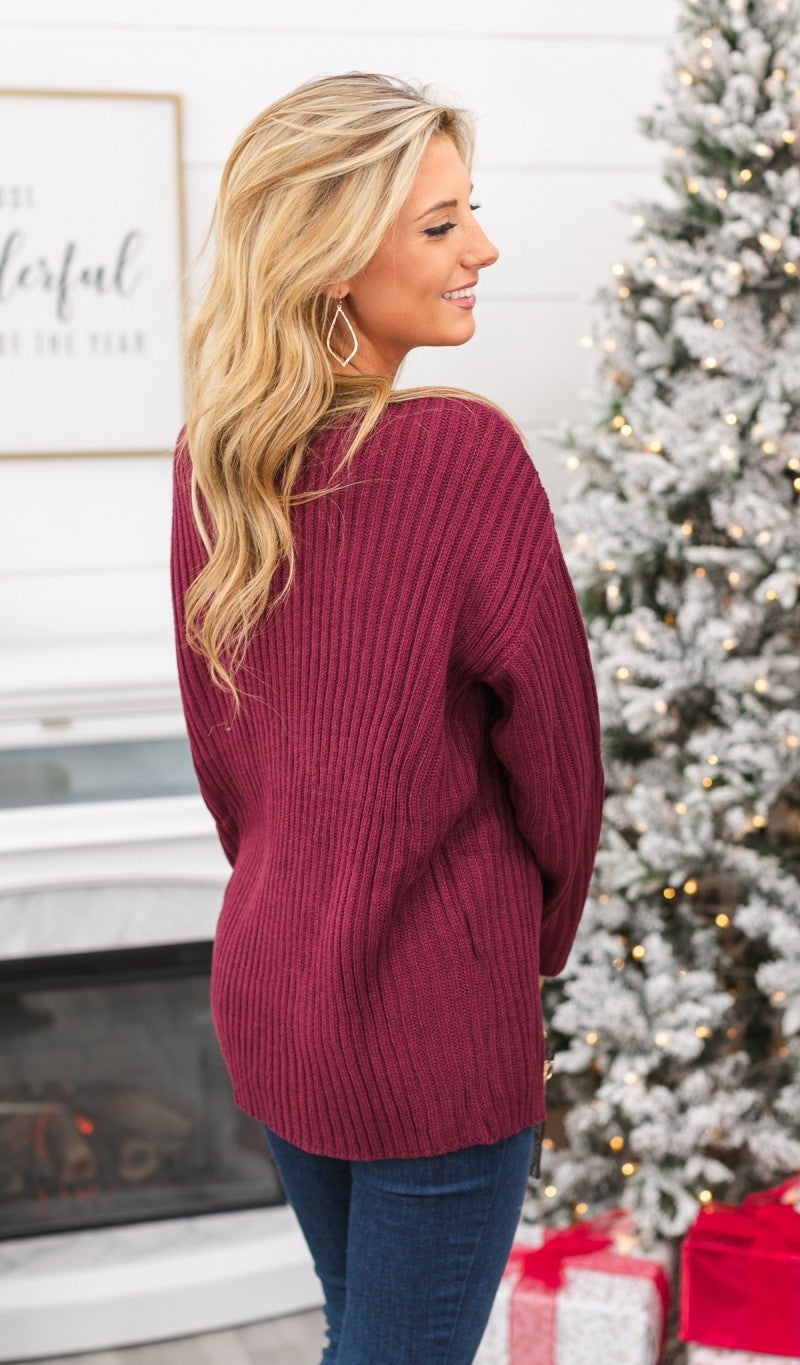 Cross On By Sweater, Burgundy