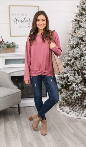Simple Comforts Top, Charcoal for Mauve