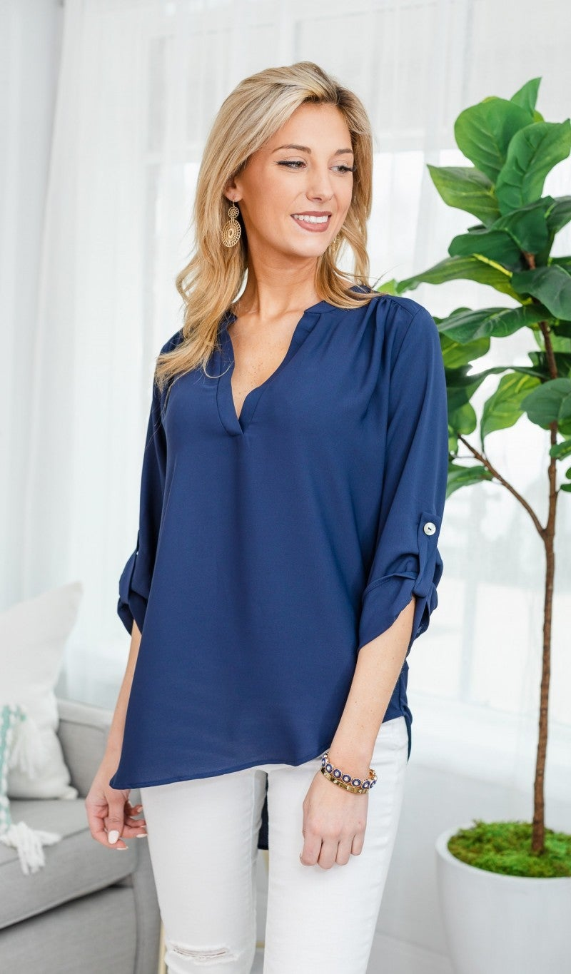 Best Impressions Blouse, Navy