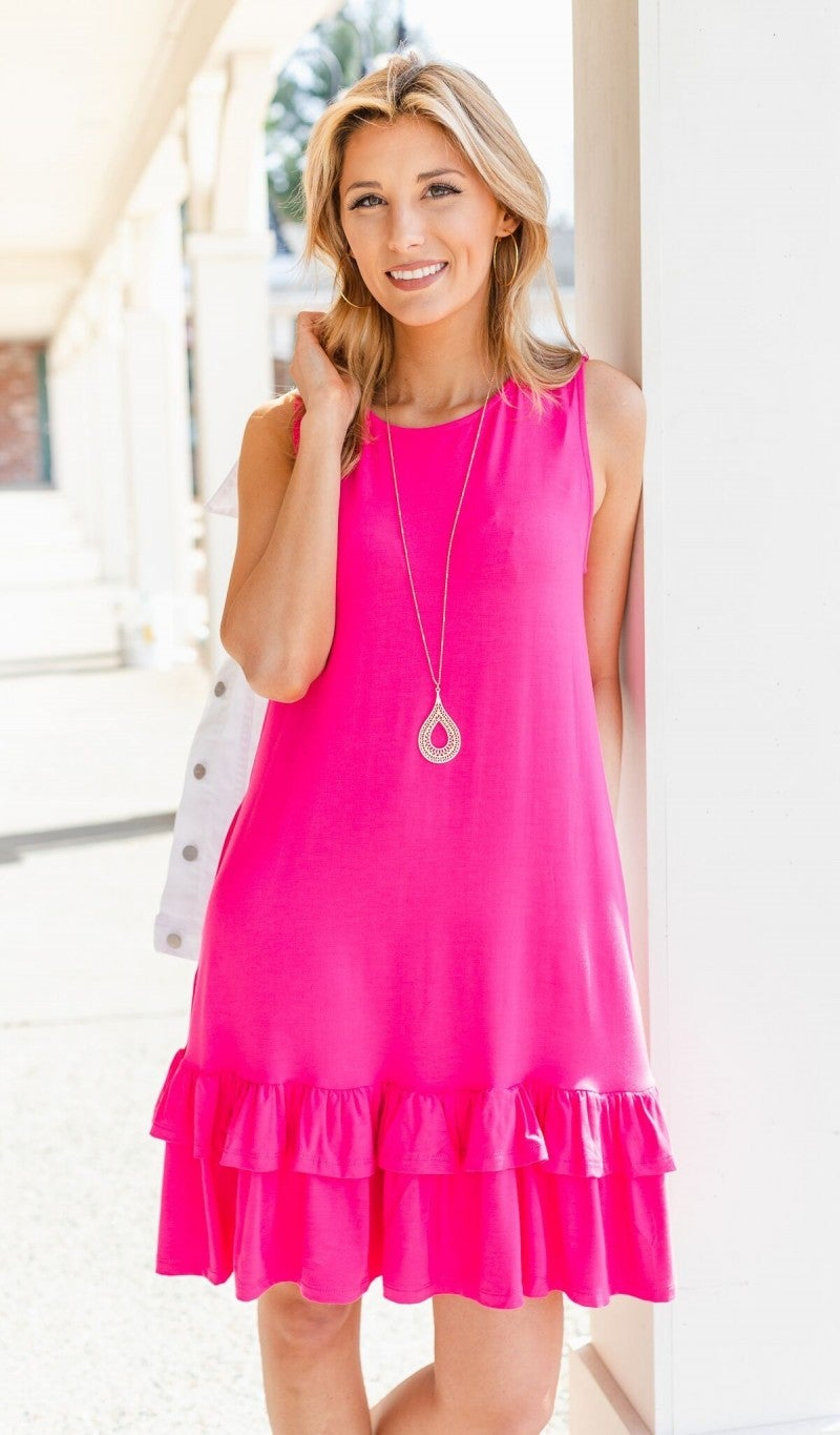 Calling Your Name Dress, Hot Pink