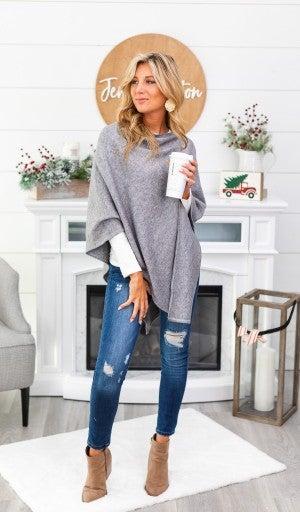 Change of Seasons Sweater/Poncho, Grey