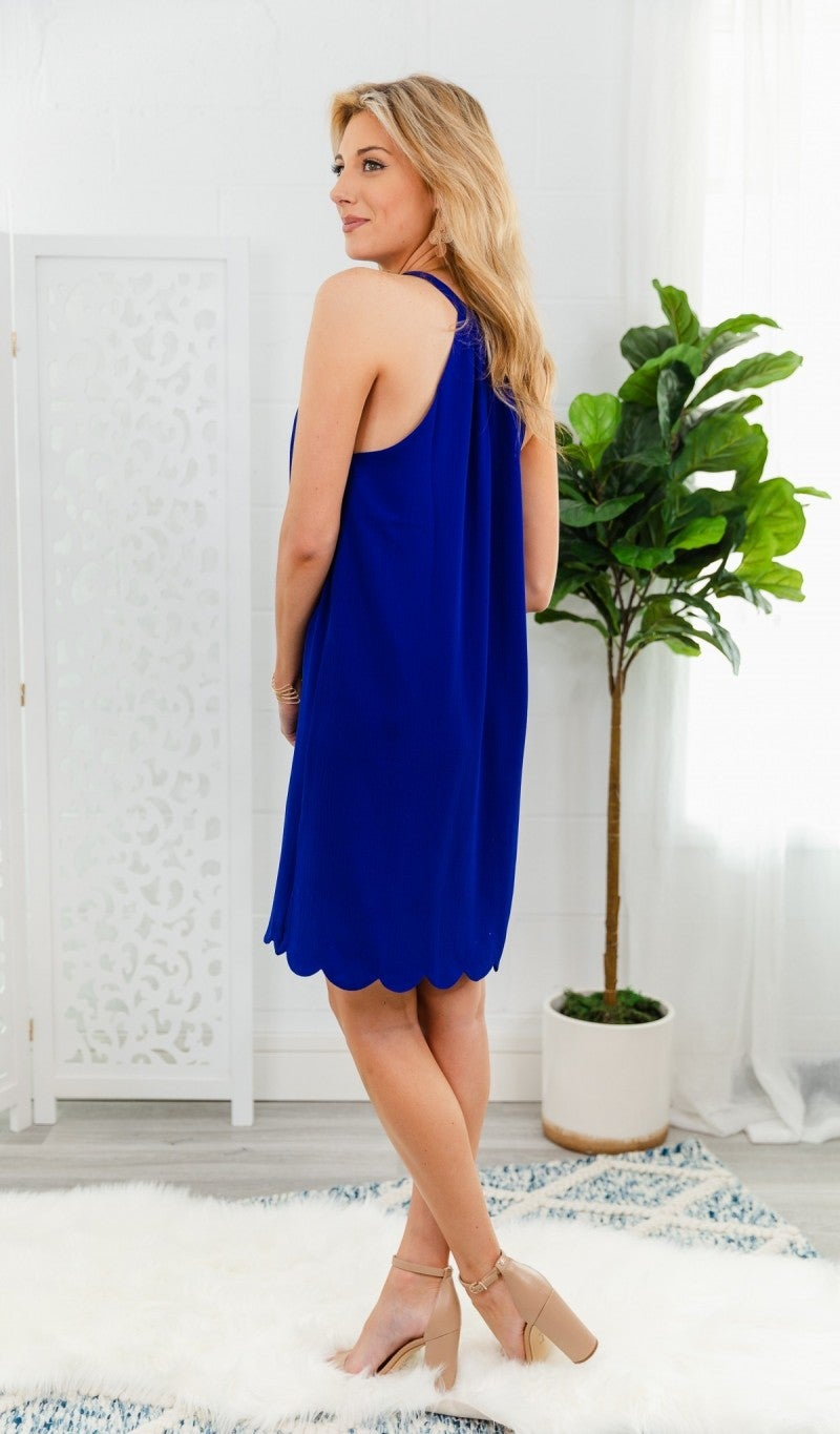Scalloped For Summer Dress, Ivory or Cobalt