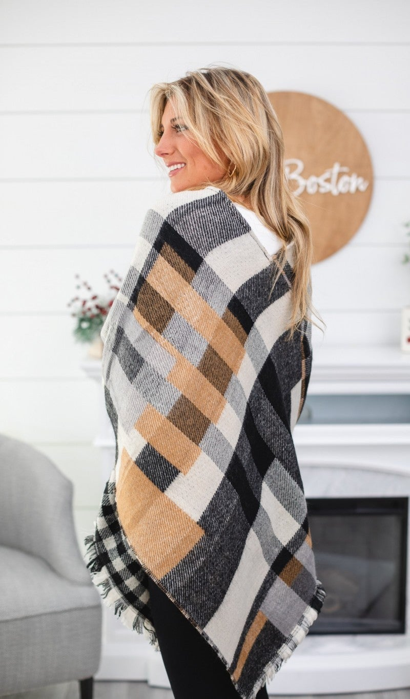 BUNDLE! All I Need- Take Me To The Orchard Plaid Poncho & Black Fleece Lined Leggings