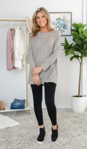 Show Me A Sign Tunic, Taupe