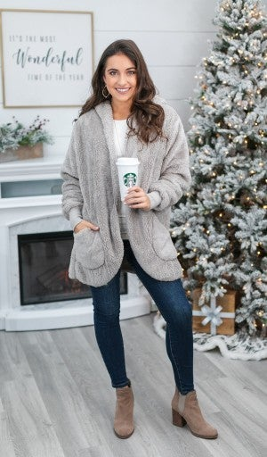 Super Sunday! Inside And Out Faux Fur Jacket, Grey