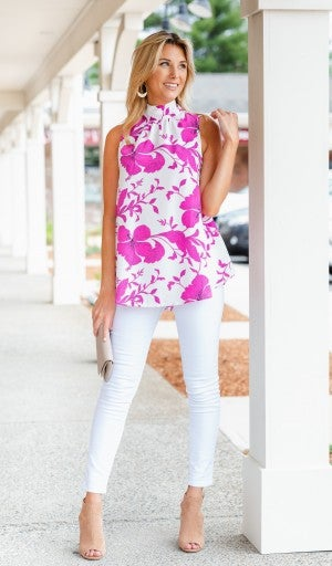 In Bloom Tank, Ivory/ Fuchsia Floral