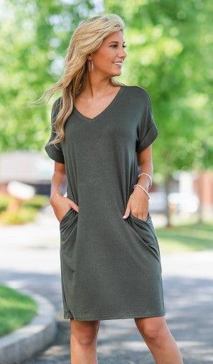 Essential V Neck T Shirt Dress- Black, Wine, or Olive
