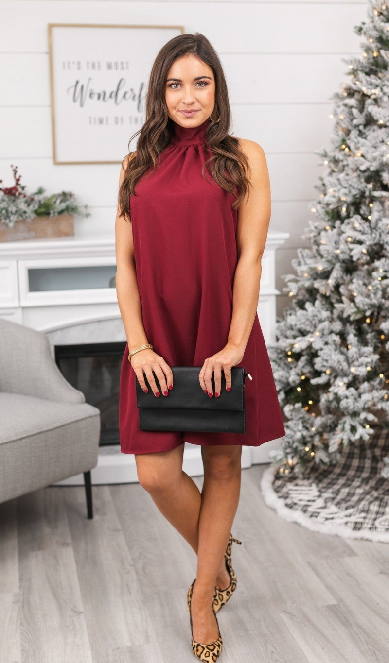 Dreaming of Chic Dress, Burgundy