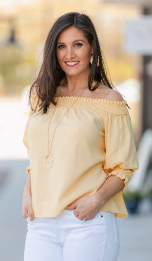 Sunny Days Off The Shoulder Top, Yellow