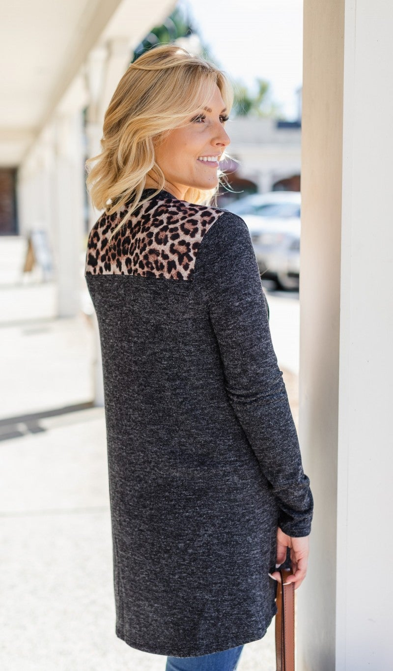 All For Leopard Cardigan, Black *Final Sale*