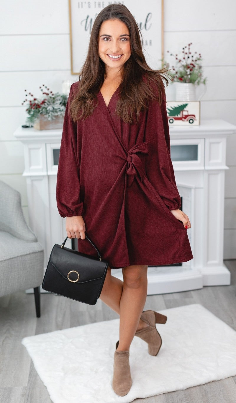 Sweep You Off Your Feet Dress, Burgundy