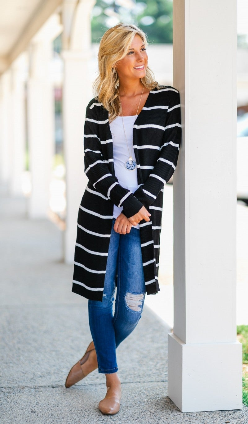 No Stopping You Cardigan, Black/Ivory