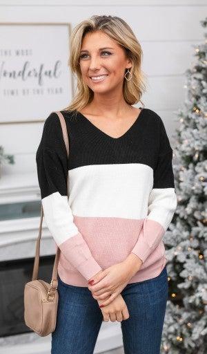 Blush Crush Twist Sweater, Color Block