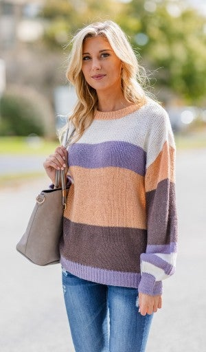 Everything You Expect Colorblock Sweater, Peach
