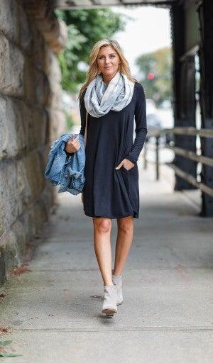 Fall Transition Dress, Black