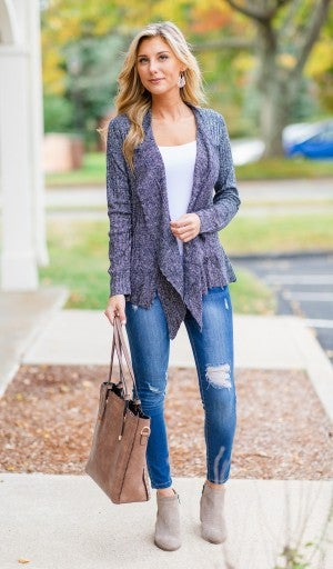 Traditional Touch Cardigan, Navy