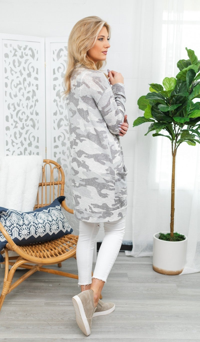 Walk This Way Camo Cardigan, Grey
