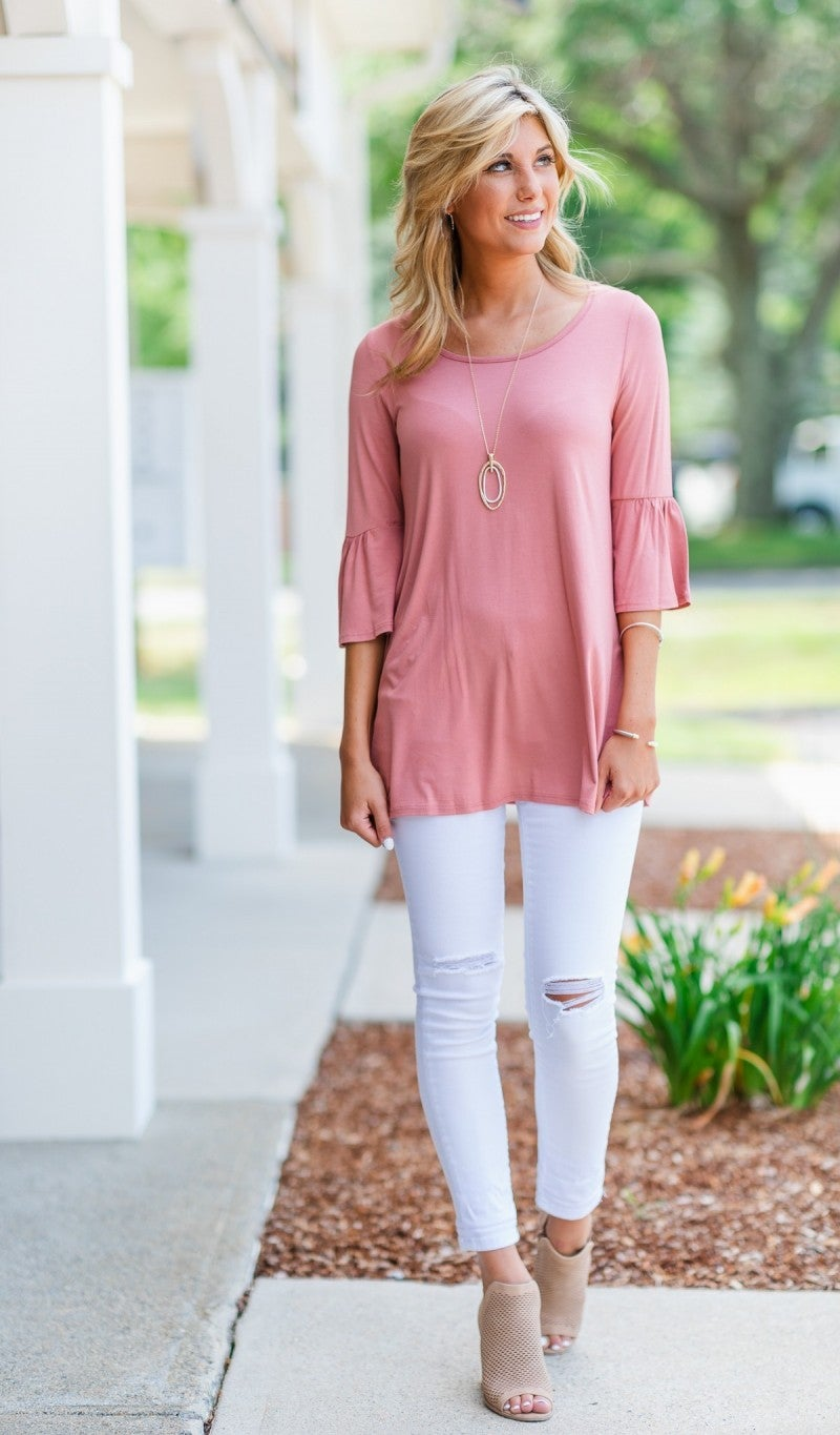 Belled Beauty Top, Dusty Rose