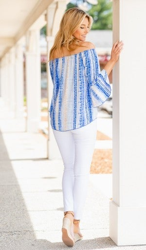 Date Night Top, Washed Blue Print