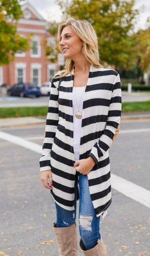 Casually Cozy Cardigan, Ivory/Black *Final Sale*