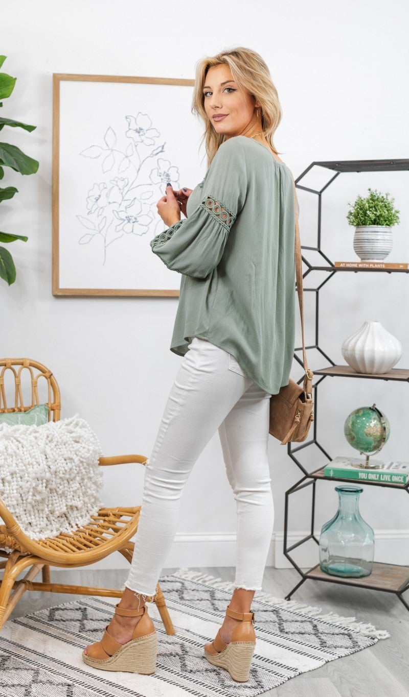 Moments Like This Blouse, Olive