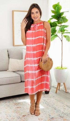Sandy Summer Dress, Magenta Tie Dye