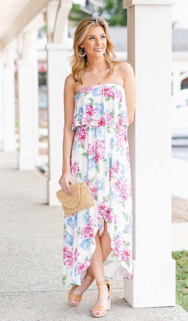 There She Goes Floral Maxi, Ivory