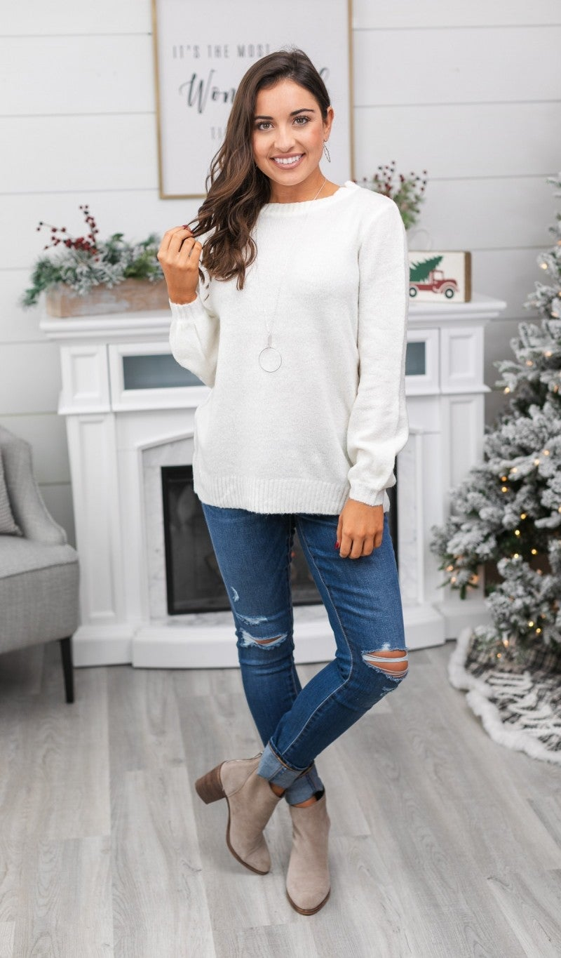 Classically Chic Knit Sweater, Ivory