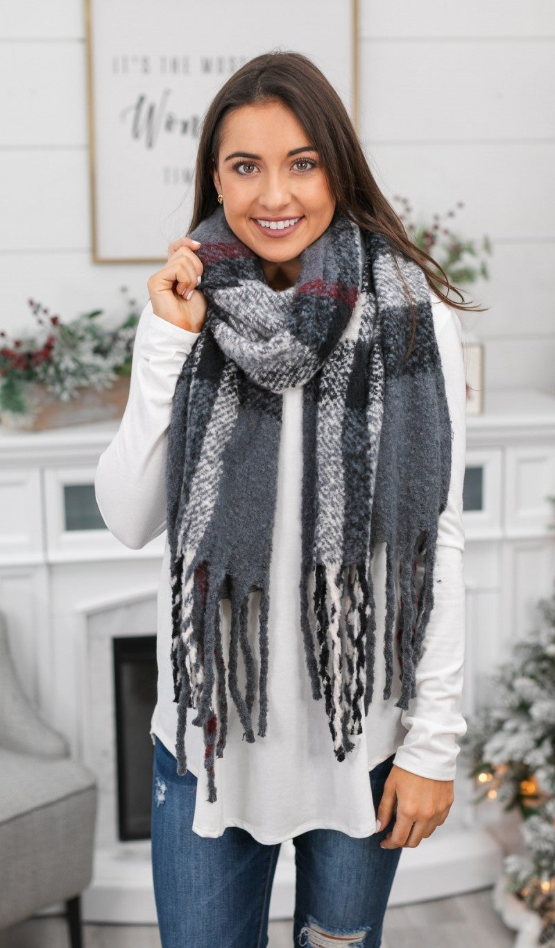 Season's Greetings - Grey Plaid Scarf *Final Sale*