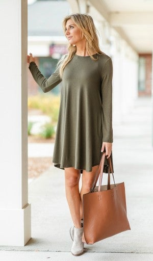 Fall Transition Dress, Olive