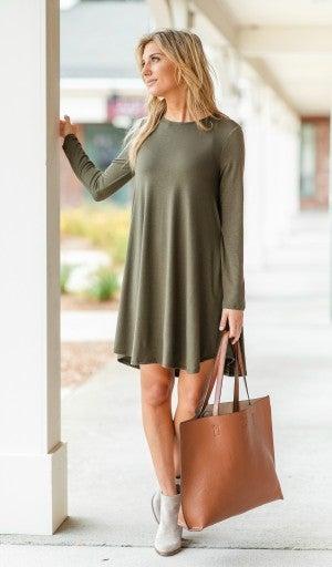Fall Transition Dress, Olive *Final Sale*