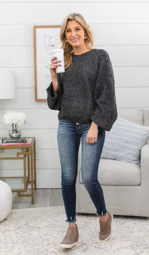 Easy Days Ahead Sweater, Charcoal *Final Sale*