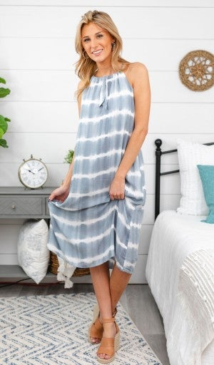 Sandy Summer Dress, Grey Tie Dye *Final Sale*