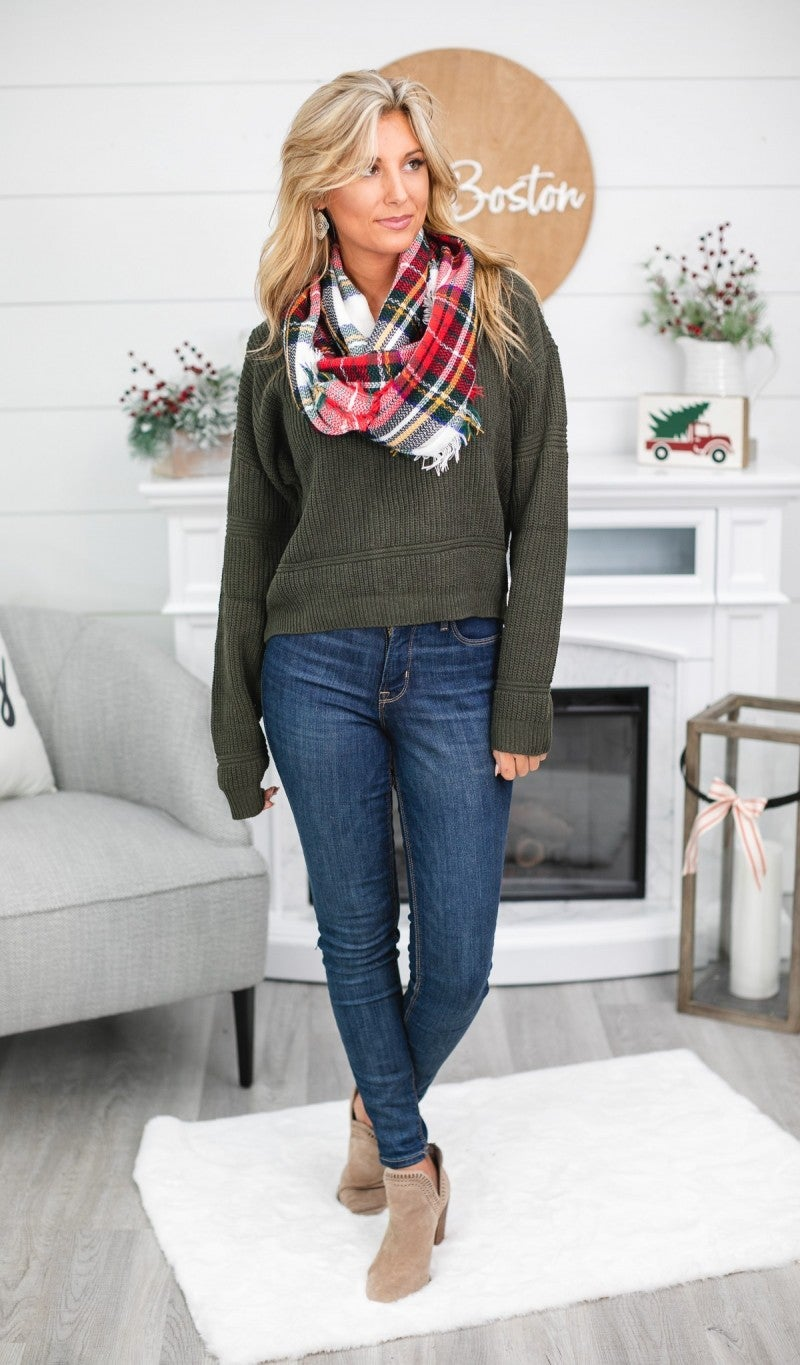 Perfectly Plaid Infinity Scarf, Red