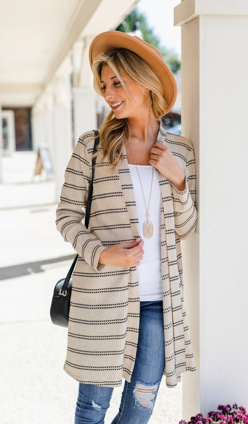 No Objections Cardigan, Taupe/Black