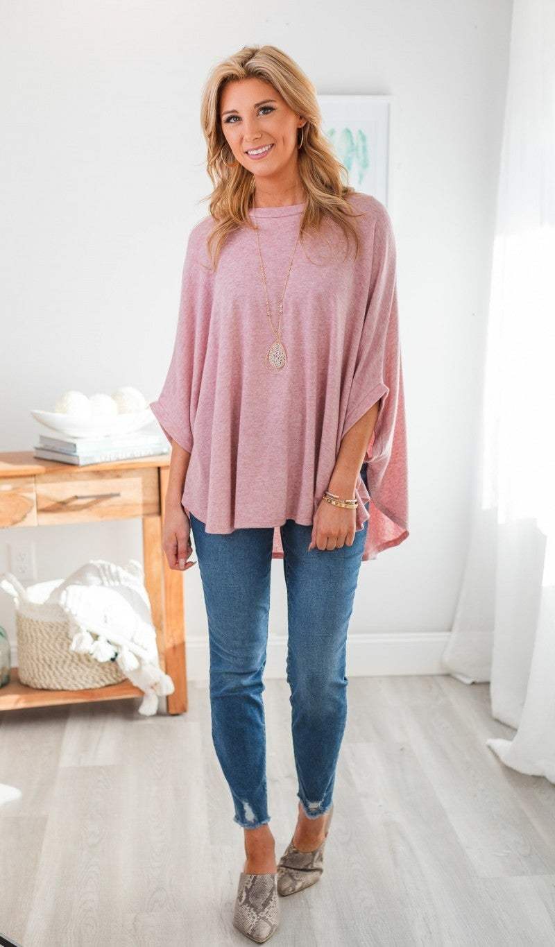 Swing Into Spring Sweater/Poncho, Mauve