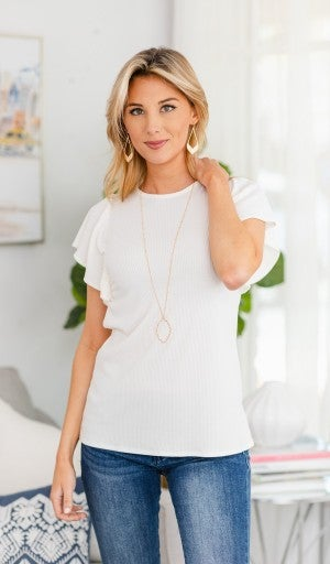Fluttered Fun Top, White