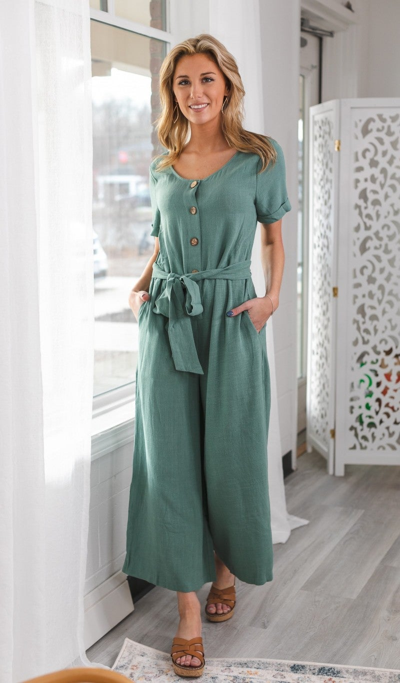 Feeling So Right Jumpsuit, Sage