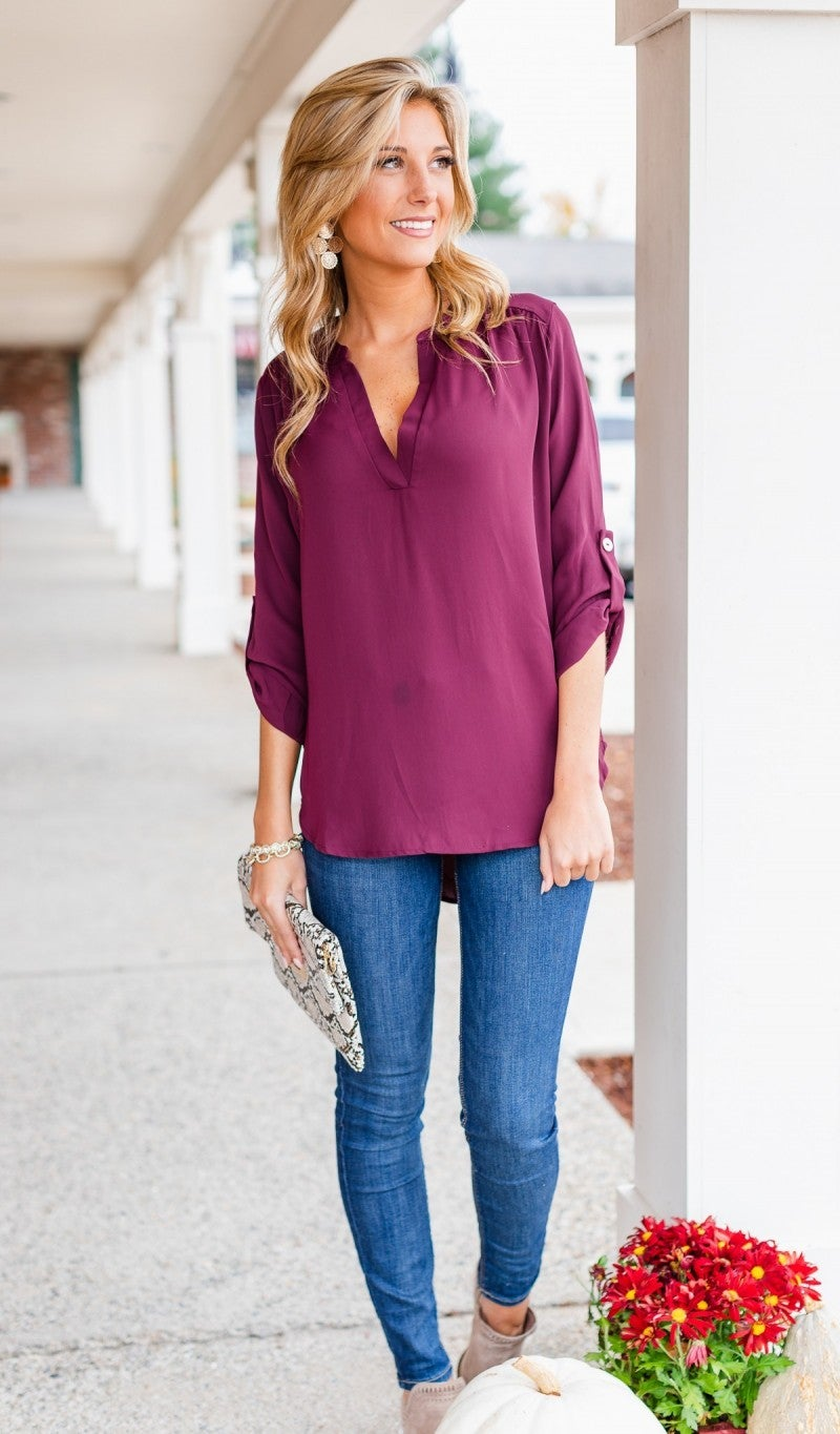 Best Impressions Blouse, Burgundy