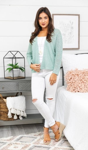 Feel The Vibes Cardigan, Mint