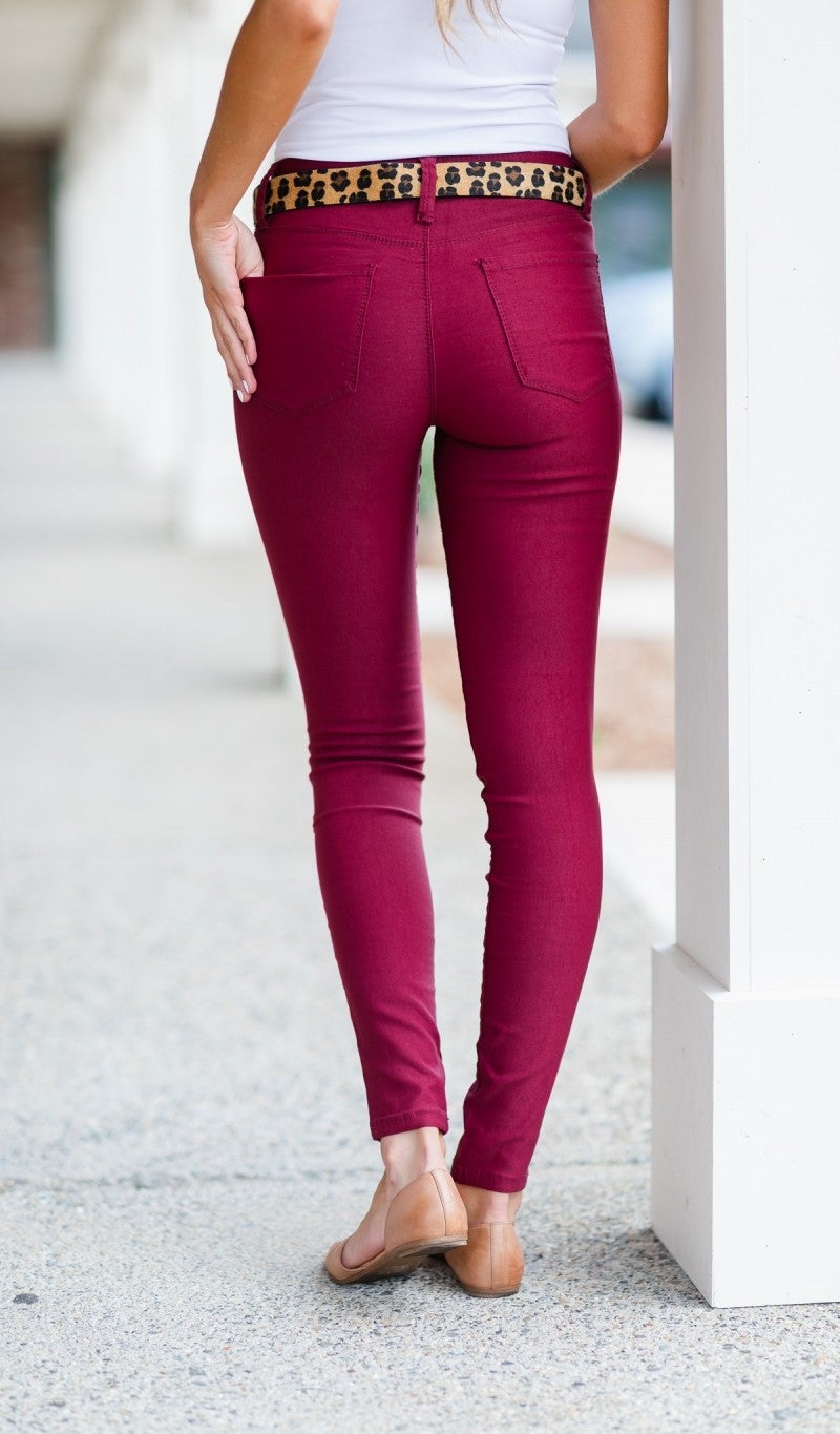 Next Best Thing Jeggings, Burgundy