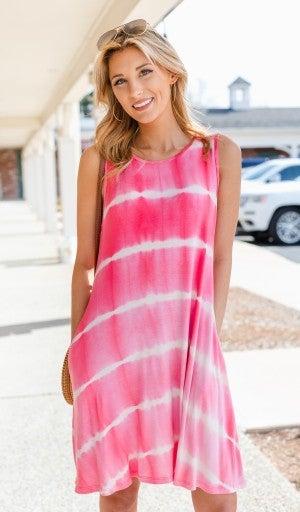 The Morgan Tie-Dye Dress, Hot Pink