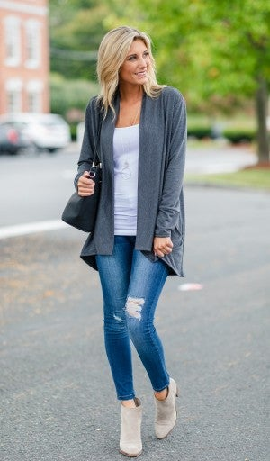 Forget Me Not Cardigan, Charcoal