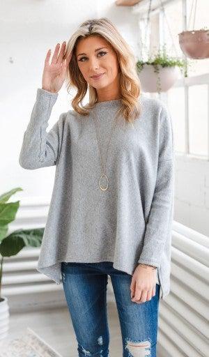 Just Warm Enough Top, Grey