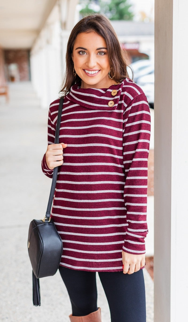 The Carey Striped Button Tunic, Burgundy