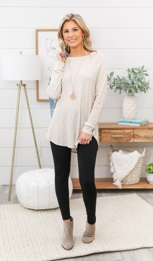Must Have Layering Waffle Tunic, Oatmeal or Denim