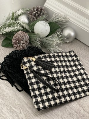 BUNDLE! Best Wishes- Black Fringe Infinity Chenille Scarf & Buffalo Check Clutch (Ivory Or Red)