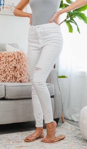 P012 High Roller Skinny Jean, White Ripped