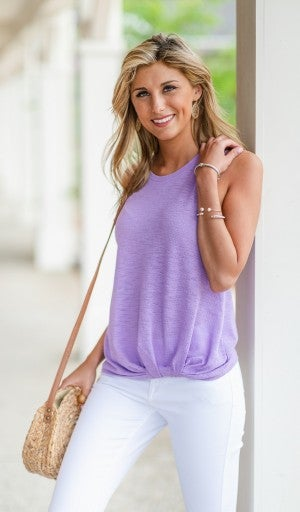 Summer Twist Tank, Lilac or Ivory