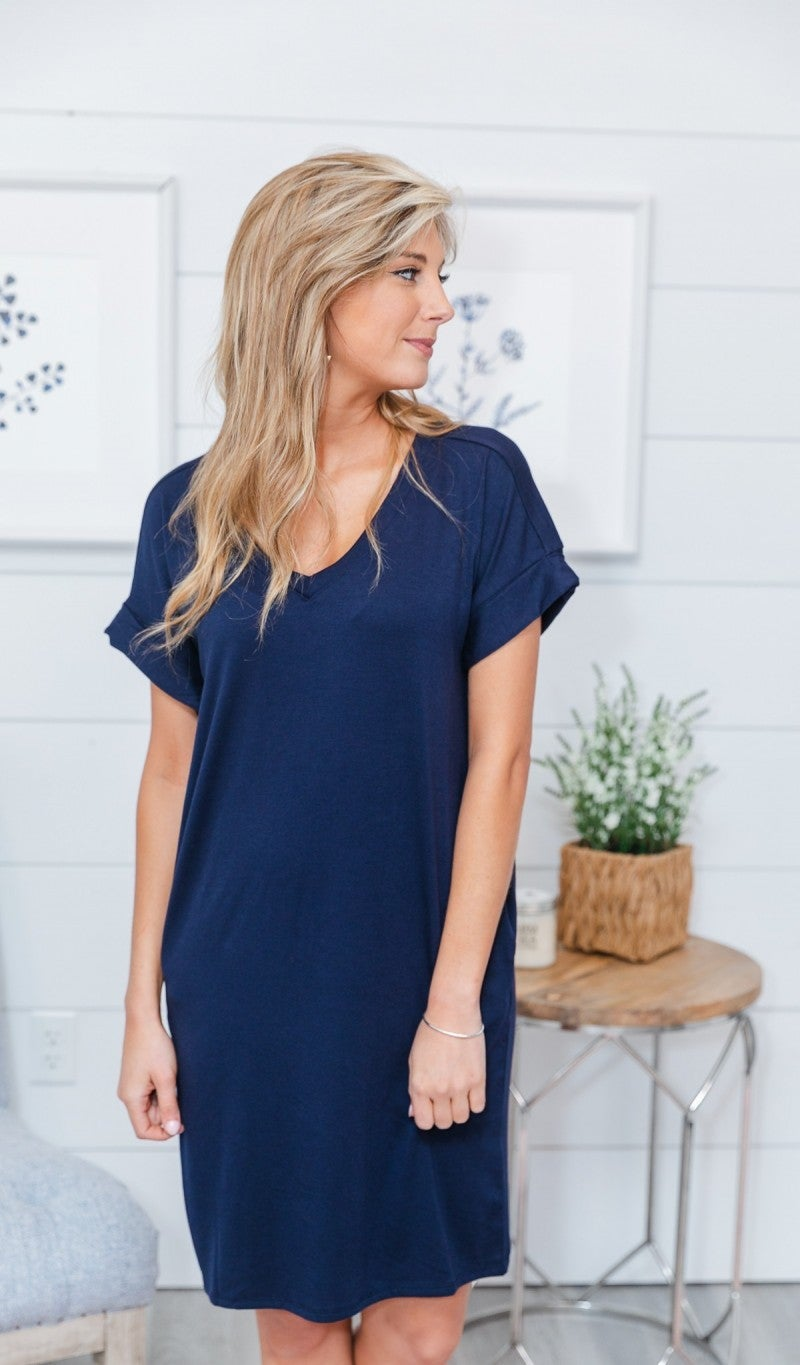 Essential V Neck T Shirt Dress- Navy, Cobalt & Black